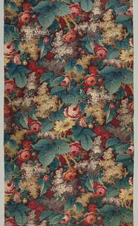 Length of chintz with a dark purple ground with large flower and foliage design arranged in allover pattern of roses, lilacs, etc. with large leaves. Printed in reds, violets, drab brown, faded yellow, and blue-green. The leaves show blue and yellow combined; yellow has faded to leave a bluish tone.