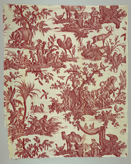 Textile printed in red on white showing design of the four continents.