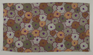 All-over design of flower heads, natural size. Printed in green, brown, old gold and purple, with outlines in dark red; background grey-green.