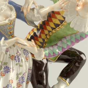 Dancing Harlequin and Columbine of the Commedia dell'Arte.