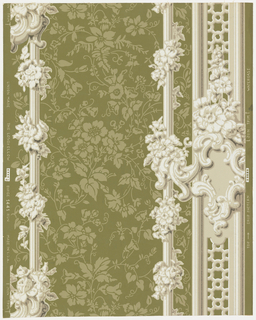 "Ground has all-over neutral flower pattern. At right, pilaster with open-work against which is a rococo cartouche crowned with flower spray. To the left and close by is vertical rod entwined with floral chain. To the extreme left is another. Drop match. ""a"": gray ground; ""b"": yellow ground; ""c"": brown ground; ""d"" blue-green ground."