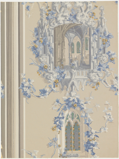 """Medallion of an interior of a Gothic Church framed in elaborate Gothic ornamentation. Beneath is a Gothic stained glass window. Both medallion and window have ivy festooned around them. Reproduced from old English paper of about 1809 and originally used in the Governor Gore Mansion at Waltham, Massachusetts. At left is a band of clustered narrow vertical stripes. Printed on reverse: """"Birge Waterfast, Glaze-tek, sidewall 5488B"""" """"Waltham""""."""