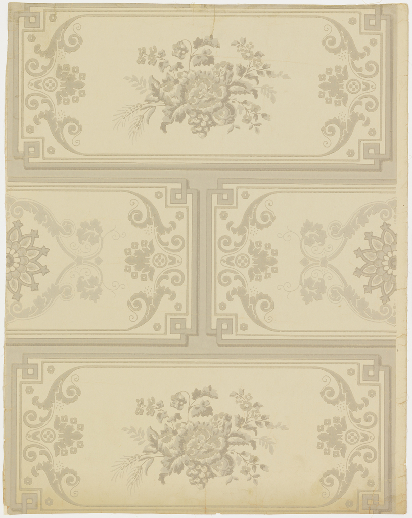 Vertical rectangle, a full width; giving one and one-half repeats. A simulated masonry pattern, the blocks the full width of the paper, alternating decoration of a bunch of flowers and fruit, and a Gothic fleuron in framework.