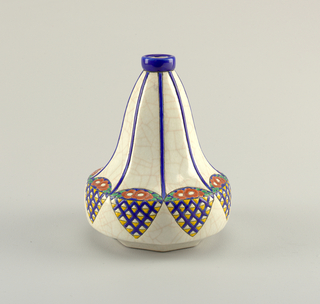 Roughly pear-shaped form with crackled cream base on surface.  Mouth of vase decorated in a blue glaze from which stripes of blue outlined in black, radiate down the vase. Blue conical forms comprised of yellow and cream triangular forms and red flowers and leaves decorate the bottom section of the vase.