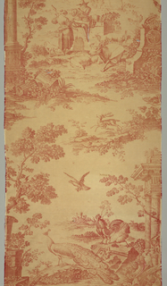 Textile printed in red on white showing a design composed of two motifs. A shepherd playing the flute sits on a ruin before a shepherdess with a spindle. Nearby animals recline. The other motif shows a peacock and other birds among ruins and trees.