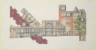 Drawing, Collage of Plans and Elevations, Cambridge Arcade Project, Zero Arrow Street, Cambridge, MA