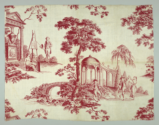 Slightly more than one full repeat of a plate. Printed cotton on red. Landscape: two scenes, one an artist standing at an easel in front of a classical temple and dancers and a musician in front of a classical style pavillion.  Fabric too narrow for plate: Fabric lengths placed side-by-side repeat pattern straight across.