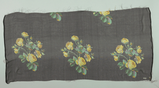 Sample with a black ground with repeating rows of a life-size spray of roses in yellow and violet.