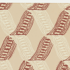 Ribbon twist diagonally, crosing to make a diamond pattern. White and red ribbons alternate. Printed in dark red and white on pale tan.