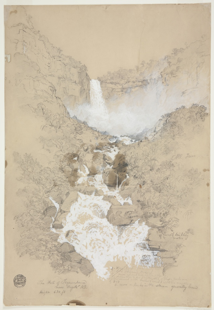 View of river cascading over long and precipitous descent in a series of waterfalls. Trees and plants grow from rocks and boulders surrounding the rushing white water. Color and descriptive notes throughout.