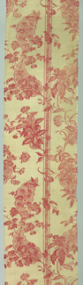 Red and white in a stripe pattern with small foliage decoration crossed by a branching leaf and flower. A large leaf, pointed and with scalloped edge and interior decoration forms part of the pattern.