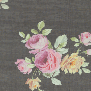 Large-scale sprays of roses in pinks, yellow and green, in offset repeat on a black ground. Both selvedges present.