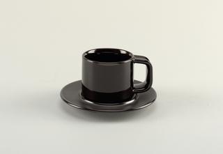 black a) cup; b) saucer