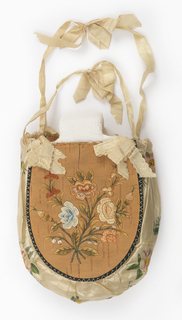 White silk bag with a panel of birch bark applied to one side, embroidered with a garland of flowers. The other side embroidered with a female figure churning butter?