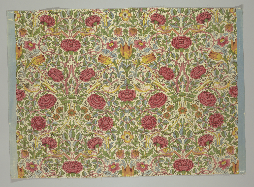 Printed in red on pink field with white reserves. Floral design in Pre-Raphaelite style.