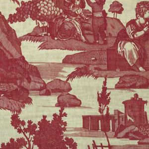 """""""Dites Merci"""" country scenes. Printed in red on white. From the factory of J. D. Meillier et Cie. (1792-1826). Cf. Clouzot, Histoire de la Manufacture de Jouy, etc., Paris, 1928, pl. 52."""