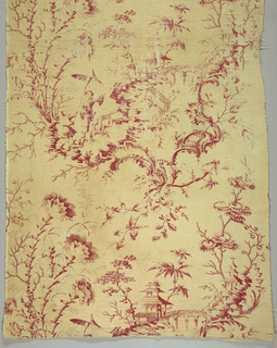 Off-white cotton, copperplate-printed in a red Chinoiserie design, in the style of Jean-Baptiste Pillement. A young man and a servant carrying a standard ascend a floating stair to a pavilion, amid fantastical foliage. The panel shows one full repeat, and parts of two others. The fabric is pieced at the top, quilted and interlined with wool.