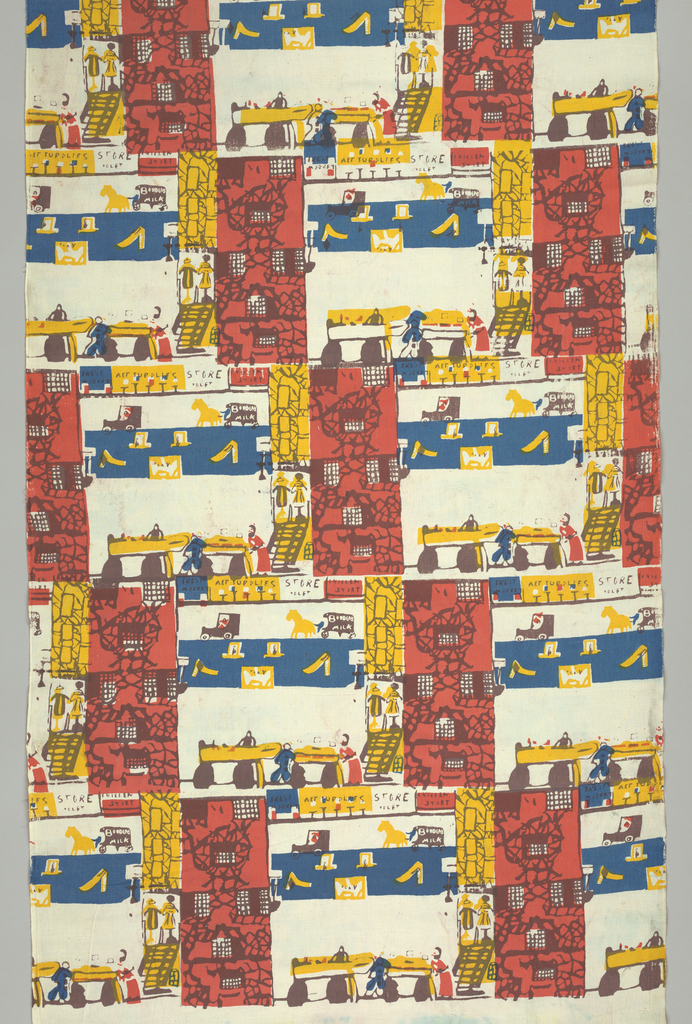 One-third offset brick repeat of street scene with cars. Borden milk wagon and horse, store fronts and people at vegetable stands (?). Printed in red yellow, blue, and brown.