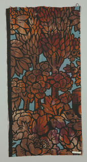 Fragment, cotton in printed pattern of plans and trees in shades of dark red and brown against blue background and heavy black outline.