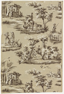 Portion of an unused roll with figured scenes. Woman in swing hung between two trees, accompanied by man and woman on donkey, accompanied by goat and dog, pointing to ruined building in marsh. Smaller vignettes of hunters and dogs.