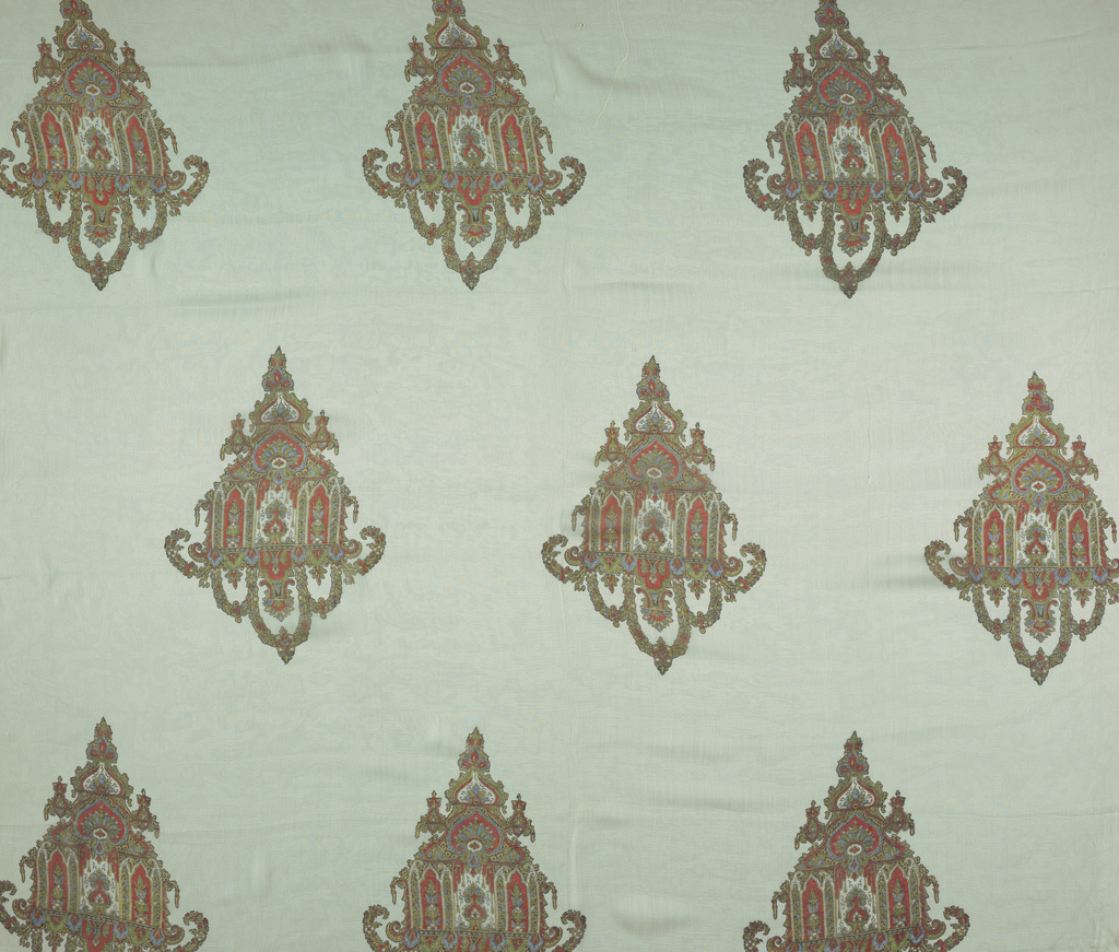 Four samples, each with different color scheme. Staggered horizontal repeat of an adaptation of the pagoda form. Both selvedges present on all samples.