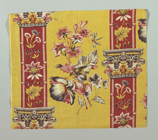 "Piece of thin glazed chintz, printed by combination of roller and block or roller and ""surface roller"". Yellow ground, pillar design in red with capitols in yellow, black and red; sides of pillars ornamented with flower sprays in yellow, red and black. In yellow field between flower clusters of natural size, roses, pansies and columbines, with butterfly, in shades of red, sepia and yellow."
