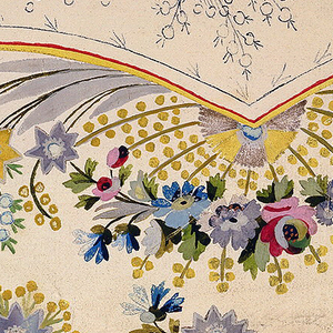 Lower left section of a waistcoat.  Below the pocket a fan-shaped spray of naturalistic flowers, flanked by smaller sprays of imaginative types.  A repeat flower motif along the border.  Design on pocket suggested in outline.  Four lines of inscription, above.