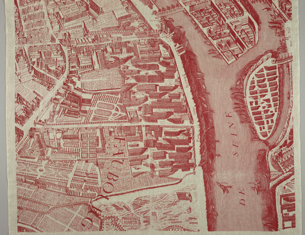 Commemorative textile of heavy natural-colored linen printed with a scene taken from a 1739 engraving of a map of Paris.