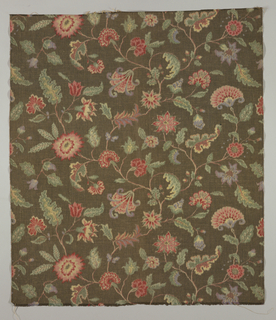 """Jacobean"" design on dark brown background."