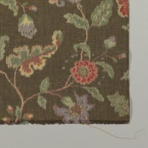 """""""Jacobean"""" design on dark brown background."""