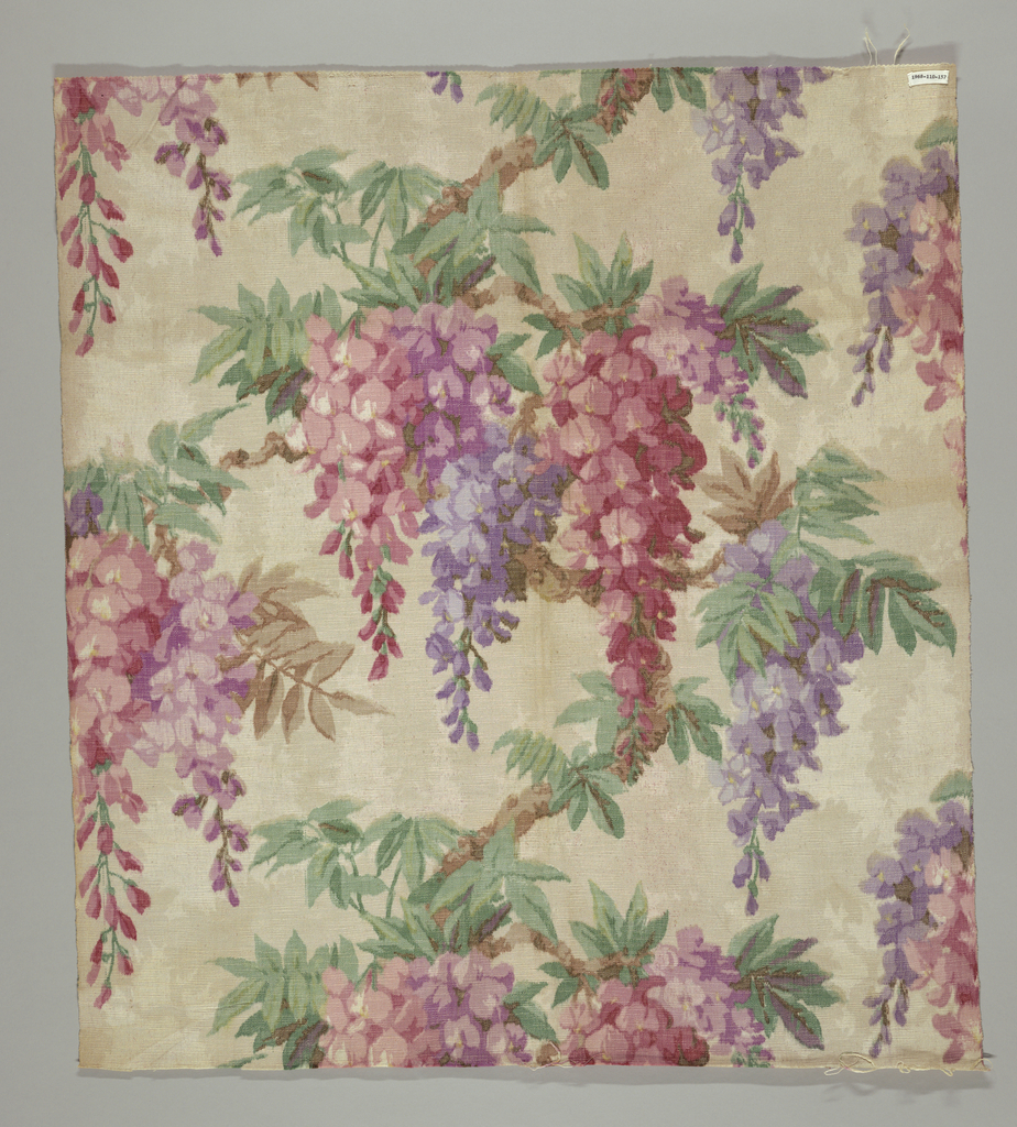 Design of wisteria in magentas, purples, greens, and brown.