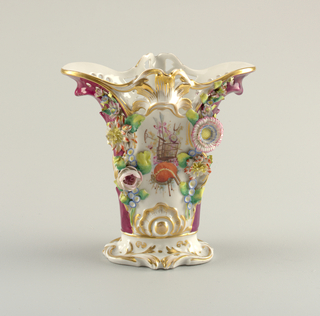 Vase with Porcelain Flower Appliqués Vase, ca. 1840–60