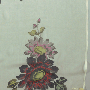 Five samples of printed chiffon, each on a different ground color, and having a design of a large-scale dahlia spray in offset repeat. Both selvedges present on each sample.