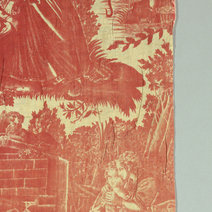 adaption of Nantes copper[;ate printed fabric called '1' agreable lecon' .  some vignettes have been omitted; others added. The title has been obliterated from the pillar and proportions have been changed.