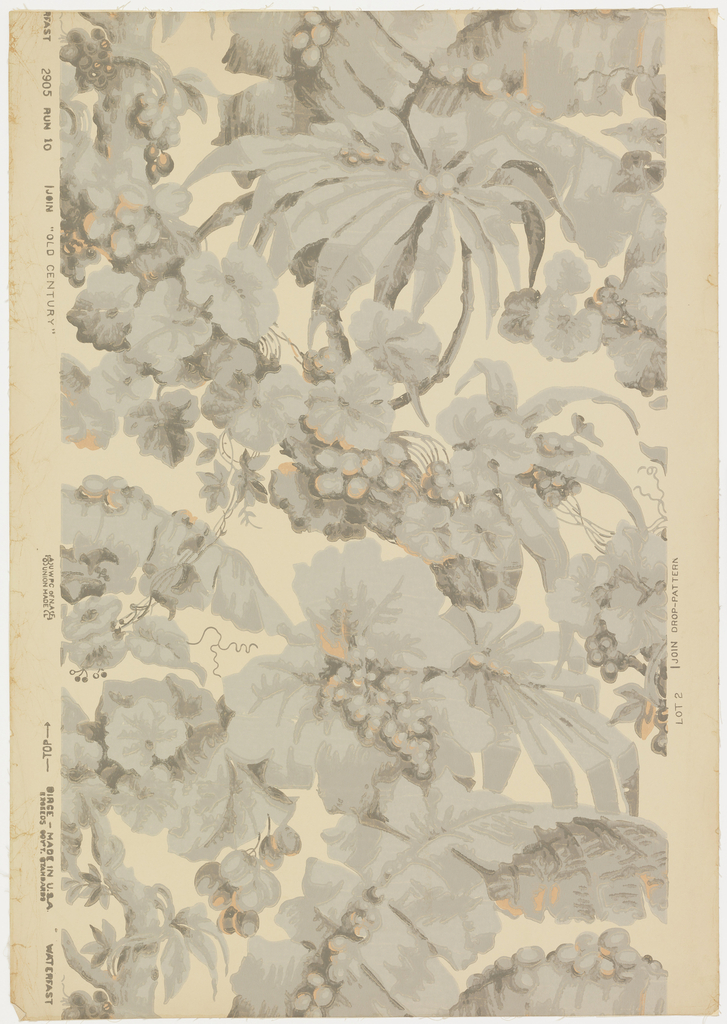"""An all-over assymetrical design of tropical foliage, banana, palm leaves, etc. A reproduction of a paper prior to 1845 that was on the walls of an old mansion at Framingham, Connecticut. Printed on reverse: Birge trademark, """"22 sidewall 2905 D, waterfast, light resisting"""". Printed in warm grays and soft orange on deep cream. Not original colors."""