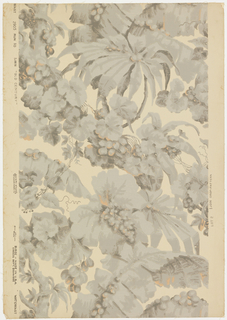 "An all-over assymetrical design of tropical foliage, banana, palm leaves, etc. A reproduction of a paper prior to 1845 that was on the walls of an old mansion at Framingham, Connecticut. Printed on reverse: Birge trademark, ""22 sidewall 2905 D, waterfast, light resisting"". Printed in warm grays and soft orange on deep cream. Not original colors."