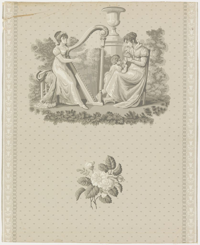 Vertical rectangle. Large motif of women with child and harp, and small bunch of roses, against dotted ground. Small band of conventional ornament along either side. Printed in grisaille on gray ground.