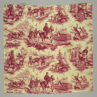 Panel of cream white cotton, block-printed in light red and darker red; scenes of French Army life in World War I, possibly an Alpin regiment. Design, in imitation of the old Toiles de Jouy, arranged in separate groups, in uneven horizontal rows: Soldiers firing cannon; a general on horseback, followed by two mounted officers with pennants, reviewing troups. Men wear berets; houses in background with pointed roofs; soldiers throwing hand grenades. Second row: helmeted soldiers, smoking and having soup; men in berets with Alpin stocks, leading donkeys with guns on their backs, up a hill. Red Cross tent with officer in helmet, red cross on arm, sending out dog, with red cross on side. Soldier being shaved by comrade. Both selvages present.