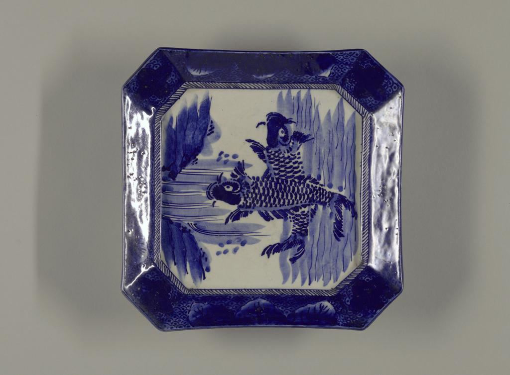 dish, blue, white patterned porcelain