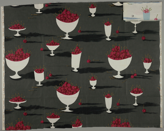 Design of bowls of cherries in grey, black, two reds, mustard and white.
