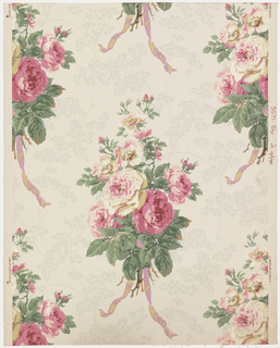 "Bouquets of roses arranged in alternating rows. Bottoms are tied with ribbons. Delicate sprays of maiden-hair fern in gray are scattered over background. Original was printed in France. Printed in margin: ""5671 The Josephine"". Printed in shades of rose, green, violet, gold and gray on palebiege"