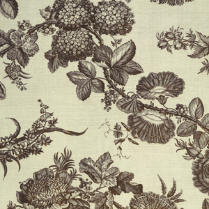 Design shows a large flowering vine of natural scale roses and morning glories.
