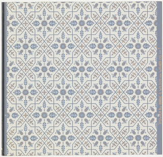 Drop-repeating eight-pointed medallions enclosing motif of buds and leaves radiating from center rosette. Framework of crossing and twisting bands decorated with sprigs and flowerlets. White is the seeming ground color. Foliate and floral forms are blue and beige.