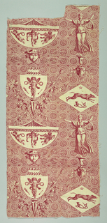 Overall pattern of floral roundels overlaid with design showing vase forms with cupids, wheat sheaves, grape vines, a hunting hound, Diana with bow and arrow, masks and sheep heads.