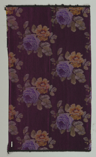 Heavyweight silk with horizontal ribbing has large-scale violet and orange roses scattered over a dark purple ground.