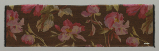 Heavyweight silk with horizontal ribbing has large-scale violet and dark pink pansies scattered over a dark brown ground.