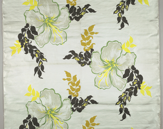 Hibiscus-like blossoms in black, mustard, yellow, green and gray on white.