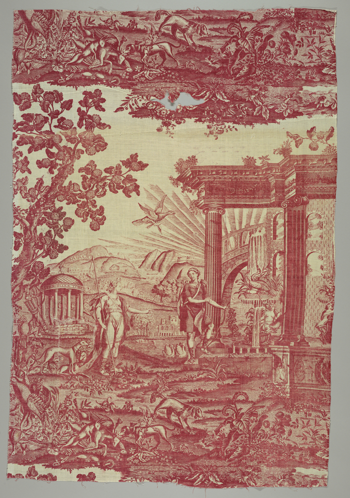 Panel printed in red on white with a design of the temple of Diana.