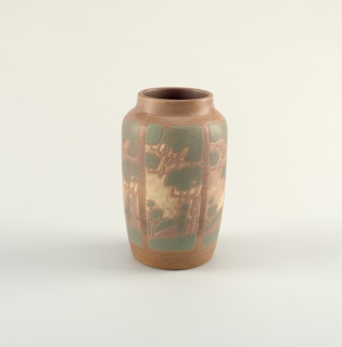 Thrown earthenware body decorated with repeating panels depicting a man beneath a tree with three birds among branches. Matte glazes in light brown, cream, green, and mauve.
