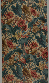Offset repeat of dense multicolored coverage of leaves and flowers almost covering the stem. Elements include banana leaf, palm leaf, caladium, cactus, passion flower, rhododendron, and hibiscus.